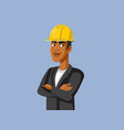 male contractor wearing hard hat vector image