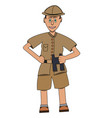man on safari with binoculars in his hand flat vector image vector image