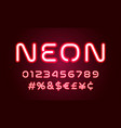 neon light alphabet font numbers and special vector image vector image