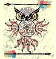 patterned owl on the grunge background african vector image