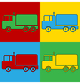 Pop art cargo car icons vector image vector image