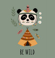 poster with tribal panda and tent vector image