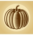 Pumpkin label in retro vintage style vector image vector image