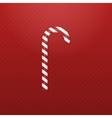 Realistic Christmas Candy Cane on red Background vector image vector image