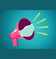 retro megaphone with face mask vector image