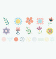 scandinavian motif herbs and flowers set simple vector image
