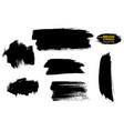 set brush strokes black paint vector image