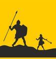 silhouette of david and goliath vector image vector image