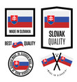 slovakia quality label set for goods vector image vector image