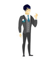 smiling groom showing ok sign vector image vector image