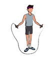 sport man jump rope fitness active lifestyle line vector image vector image