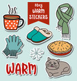 stay warm stickers collection vector image vector image