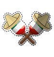 sticker pair mexican maraca instrument with vector image vector image