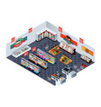 supermarket grocery store in isometric vector image