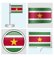 Suriname flag - sticker button label flagstaff vector image vector image