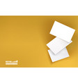 three white business cards on a yellow background vector image vector image