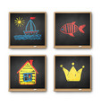 vintage chalkboards with kids drawing vector image