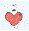 valentine bear with heart vector image