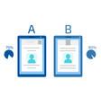 a-b comparison split testing concept vector image vector image