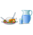 a kettle of water with rice and chicken meat in fr vector image vector image