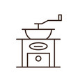 antique coffee grinder isolated linear icon vector image