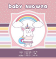 beautiful baby shower card template with lovely vector image vector image