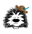 beautiful handdrawn hedgehog with hat vector image vector image