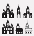 black and white icons of church buildings vector image vector image