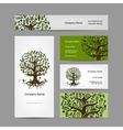 Business cards set with cosmetic tree design vector image vector image