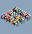 business office cubicles in isometric vector image vector image