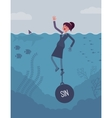 Businesswoman drowning chained with a weight Sin vector image vector image