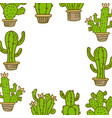 cactus frame empty template vector image vector image
