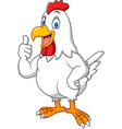 cartoon happy hen giving thumbs up vector image vector image
