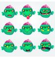 cartoon zombie heads vector image vector image