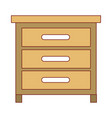 chest of drawers front view in colorful silhouette vector image vector image