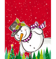 christmas background with snowman and forest of pi vector image