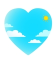 Clouds on blue sky with sun heart shape vector image