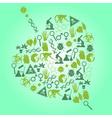 Color biology icons set in leaf shape eps10