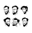 contour pattern of a set of emotions of a bearded vector image