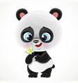 cute cartoon baby panda bear examines a butterfly vector image vector image