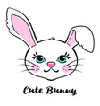 cute hand drawn bunny isolated on white background vector image vector image