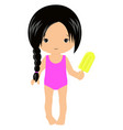 cute little girl with ice cream isolated vector image