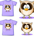 cute owl printed on shirt vector image