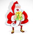 Cute Santa Claus give a gift vector image vector image