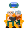 elderly travelers beautiful elderly couple dream vector image vector image