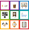 flat icon oneday set of clock timer whiteboard vector image vector image