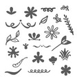 floral decorative hand drawn elements set isolated vector image vector image