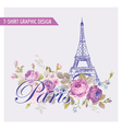 Floral Paris Graphic Design - for t-shirt vector image vector image