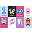 funny monsters cards set vector image vector image