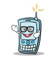 geek face phone character cartoon style vector image